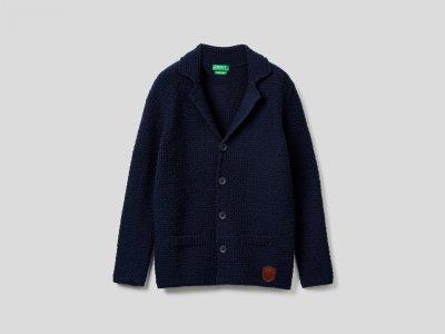 Трикотажный пиджак Benetton. Цвет: синий