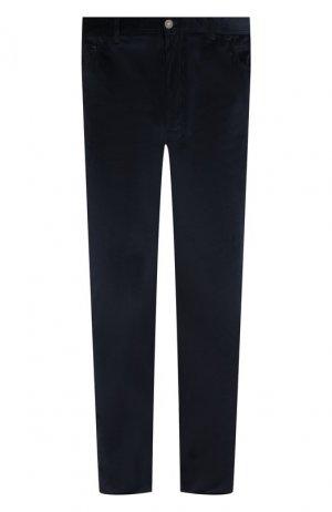 Хлопковые брюки прямого кроя Brioni. Цвет: темно-синий