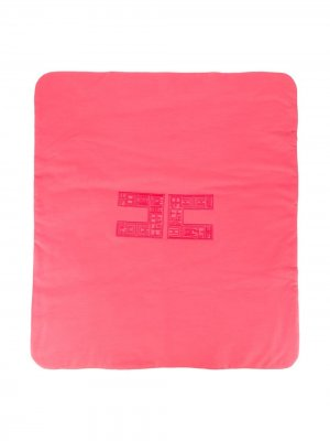 Одеяло с вышитым логотипом Elisabetta Franchi La Mia Bambina. Цвет: розовый