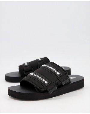 Черные шлепанцы на липучке -Черный цвет Versace Jeans Couture