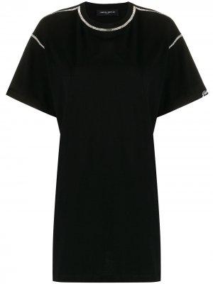 Декорированная футболка Frankie Morello. Цвет: черный