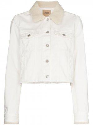 Джинсовая куртка Vivienne с искусственным мехом PAIGE. Цвет: белый