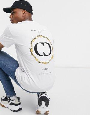 Белая футболка с принтом -Белый Criminal Damage