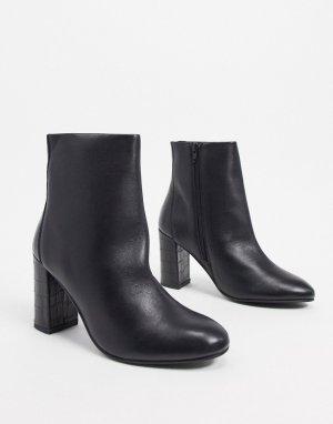 Черные кожаные ботинки на каблуке ASOS DESIGN-Черный цвет
