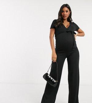 Черный комбинезон в рубчик с запахом и поясом Missguided Maternity