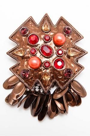 Брошь G. Glow. Цвет: бронзовый, красный