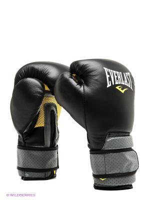 Перчатки тренировочные на липучке Pro Leather Strap 16oz Everlast. Цвет: черный