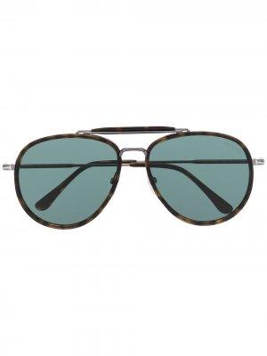 Солнцезащитные очки-авиаторы TOM FORD Eyewear. Цвет: коричневый