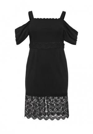 Платье LOST INK PLUS PREMIUM PENCIL DRESS WITH DRAPE SHOULDER. Цвет: черный