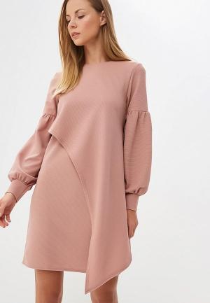 Платье LOST INK TIE WAIST DOUBLE LAYER TEXTURE DRESS. Цвет: розовый
