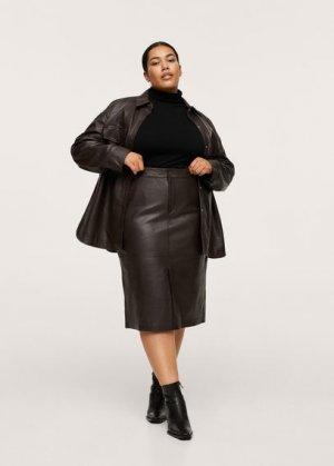 Миди-юбка 100% кожа - Jamie Mango. Цвет: коричневый средний