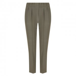 Укороченные брюки со стрелками и эластичным поясом Brunello Cucinelli. Цвет: хаки