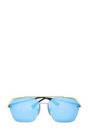 Авиаторы в тонкой оправе с контрастным мостом FENDI (sunglasses). Цвет: голубой
