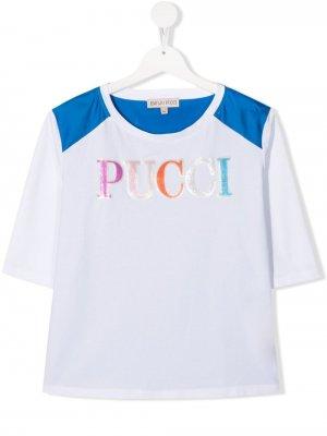 Футболка с логотипом Emilio Pucci Junior. Цвет: белый
