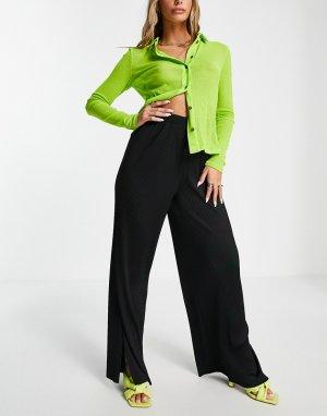 Черные брюки из плиссированного материала с широкими штанинами и разрезами по бокам -Черный цвет ASOS DESIGN