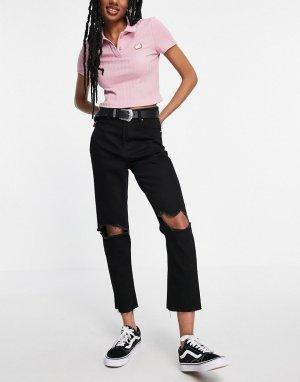 Джинсы в винтажном стиле со рваной отделкой на коленях Seba-Черный цвет Brave Soul