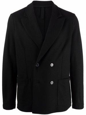 Двубортный пиджак строгого кроя Harris Wharf London. Цвет: черный