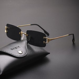 Мужские солнцезащитные очки без оправы с футляром SHEIN. Цвет: чёрный