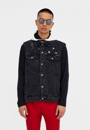 Жилет джинсовый Pull&Bear IX001XM0011N. Цвет: черный