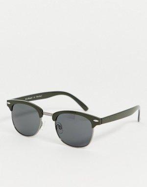 Квадратные солнцезащитные очки в зеленой оправе -Зеленый AJ Morgan
