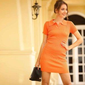 Вязаное облегающее платье с контрастным вырезом SHEIN. Цвет: оранжевый