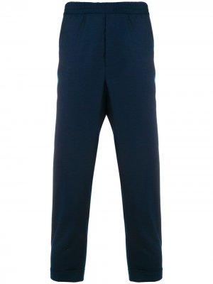 Классические брюки с эластичной талией и подвернутым низом AMI Paris. Цвет: синий
