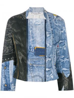 Джинсовая куртка с принтом Christian Dior Vintage. Цвет: синий