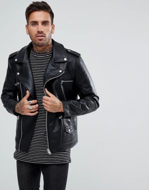 Черная байкерская куртка Bershka. Цвет: черный