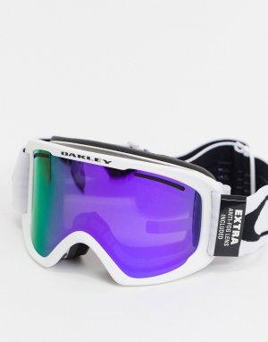 Белые горнолыжные очки с крупной оправой и фиолетовыми/зелеными линзами Frame 2.0 pro-Белый Oakley
