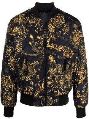 Двусторонний бомбер Versace Jeans Couture. Цвет: черный