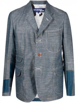 Пиджак в технике пэчворк Junya Watanabe MAN. Цвет: синий