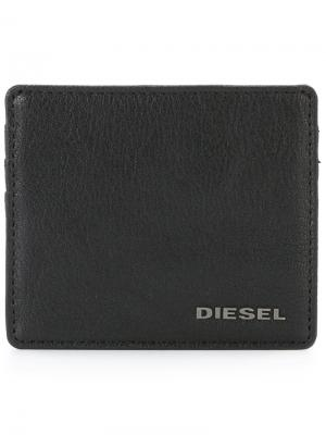 Визитница с логотипом Diesel. Цвет: черный