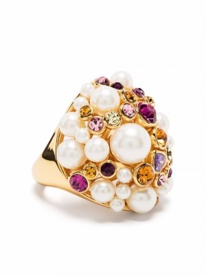 Pearl-embellished cocktail ring Kate Spade. Цвет: золотистый