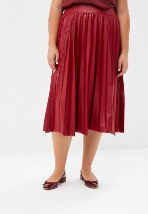 Юбка LOST INK PLUS PLEATED SKIRT IN COATED JERSEY. Цвет: бордовый