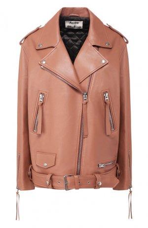 Кожаная куртка с поясом Acne Studios. Цвет: розовый