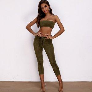 Joyfunear замшевый топ и брюки капри с поясом SHEIN. Цвет: армейский зеленый