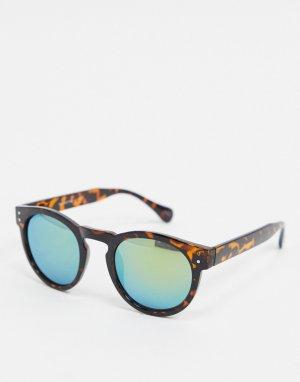 Круглые солнцезащитные очки с зеркальными стеклами -Коричневый Selected Homme