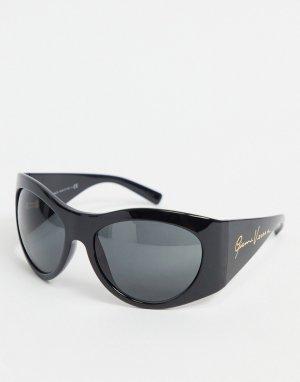 Черные большие круглые солнцезащитные очки 0VE4392-Черный цвет Versace