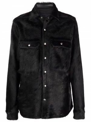 Фактурная куртка-рубашка Rick Owens. Цвет: черный