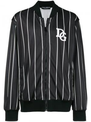 Куртка-бомбер в полоску с логотипом Dolce & Gabbana. Цвет: черный