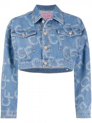 Укороченная джинсовая куртка с логотипом Chiara Ferragni. Цвет: синий