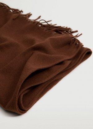 Базовый шарф с бахромой - Basic Mango. Цвет: золотисто-оранжевый