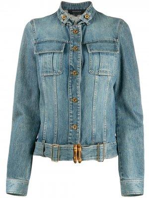 Укороченная джинсовая куртка Gucci Pre-Owned. Цвет: синий