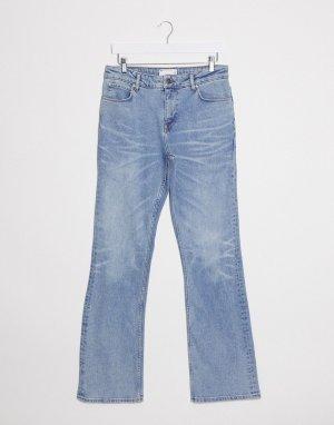 Голубые расклешенные джинсы скинни с заниженной талией -Синий ASOS DESIGN