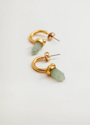 Серьги с полудрагоценным камнем - Llabia Mango. Цвет: золото