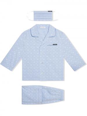 Пижама с маской и логотипом Dolce & Gabbana Kids. Цвет: синий
