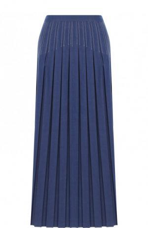 Джинсовая юбка-миди в складку Loro Piana. Цвет: синий