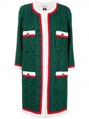 Пальто без воротника с длинными рукавами Edward Achour Paris. Цвет: зеленый