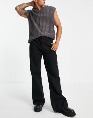 Черные расклешенные джинсы -Черный цвет Topman