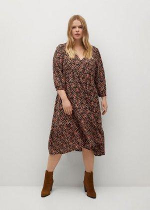 Миди-платье с принтом - Mossy8 Mango. Цвет: черный